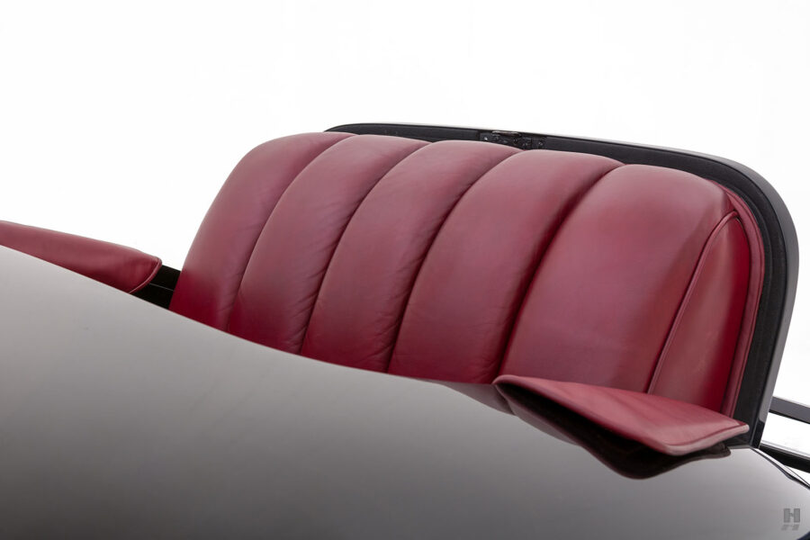 close up of seats on classic 1938 packard coupe for sale - find more cars at hyman dealers