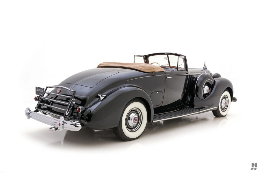 angled backside view of historic 1938 packard coupe for sale - find more classic cars at hyman dealers