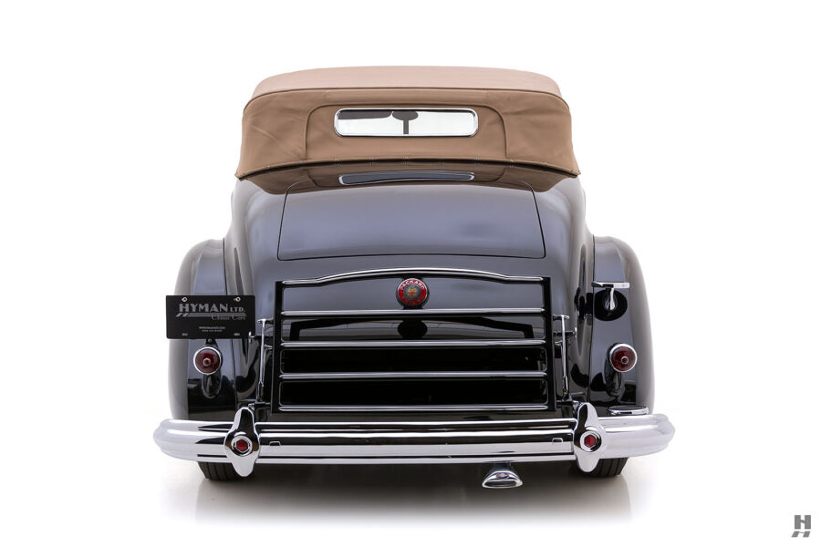 backside of vintage 1938 convertible packard coupe for sale at hyman consignment dealers