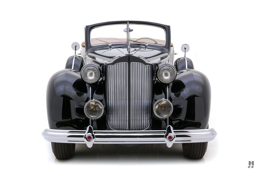 front of rare 1938 packard twelve coupe roadster at hyman consignment dealers