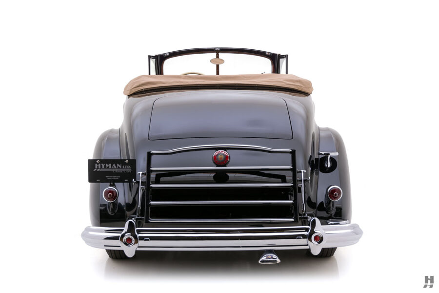 back of vintage 1938 packard twelve coupe car for sale at hyman