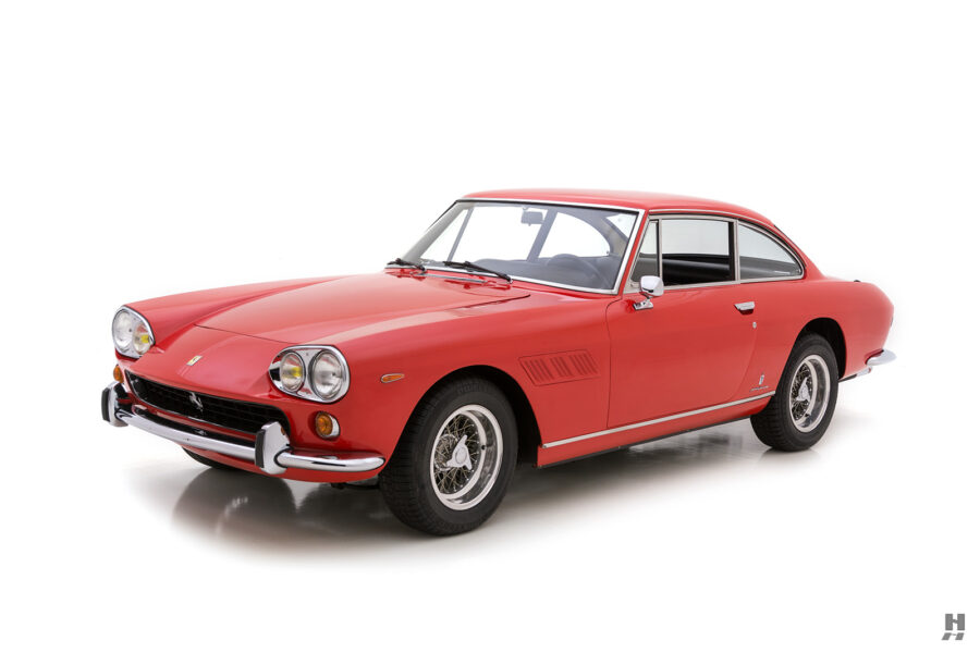 angled frontside of vintage 1966 ferrari coupe for sale at hyman classic cars
