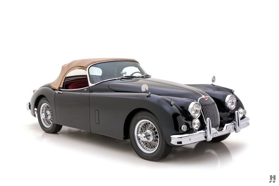 angled frontview of classic 1959 jaguar roadster for sale - find more cars at hyman