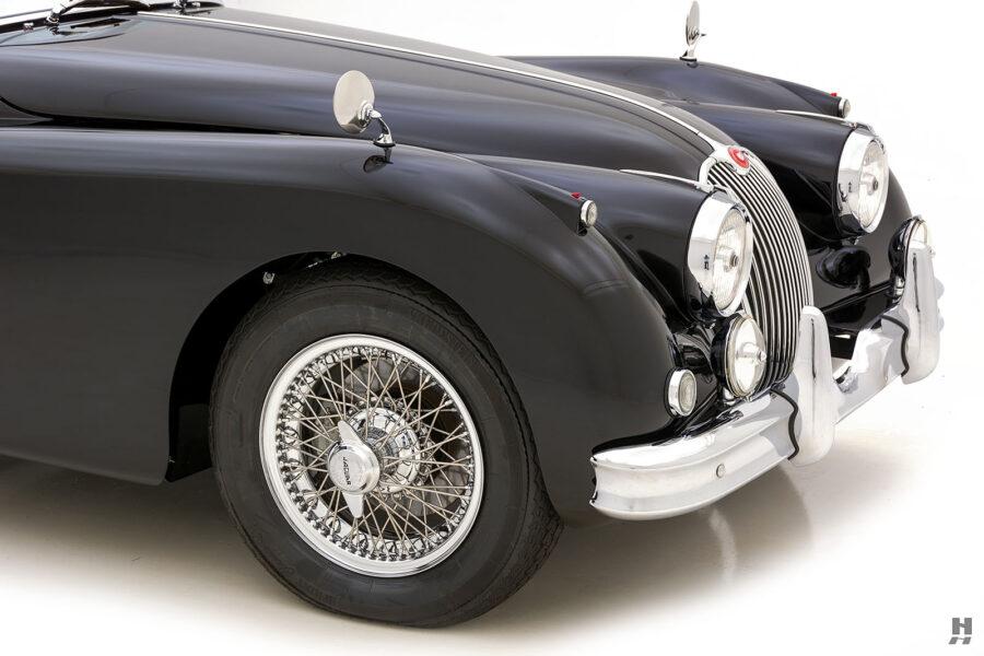 angled frontside of classic 1959 jaguar roadster for sale at hyman car dealers