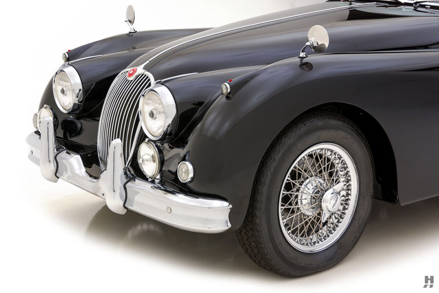 angled front view of classic 1959 jaguar for sale at hyman car dealers