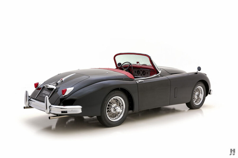angled backview of classic 1959 jaguar roadster for sale - find more cars at hyman