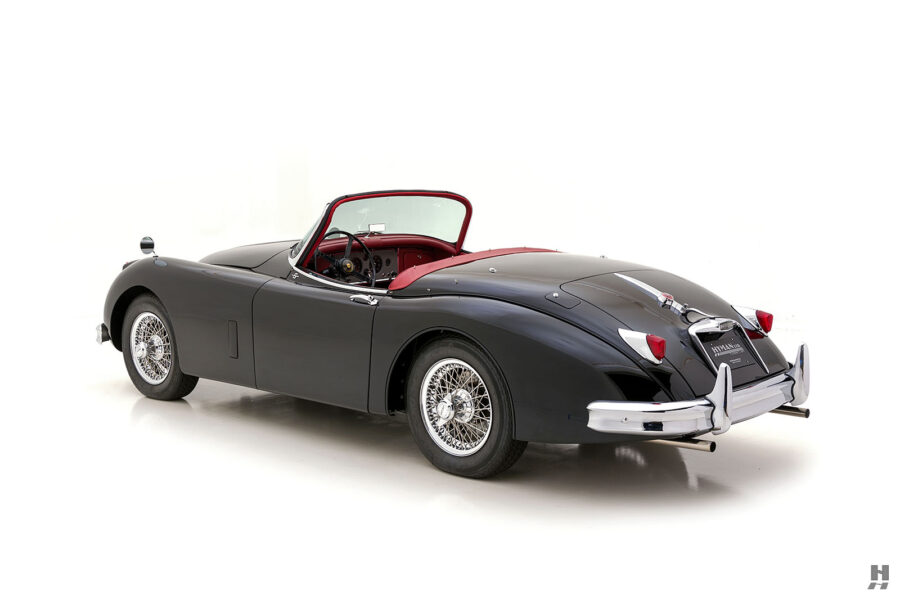 angled side view of classic 1959 jaguar for sale at hyman automobile dealers
