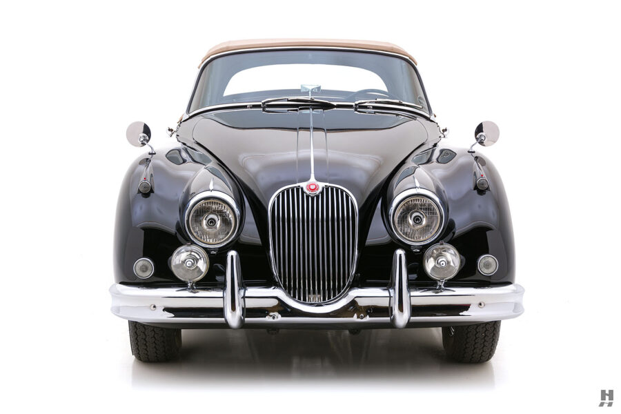 front of classic 1959 jaguar convertible roadster for sale at hyman automobile dealers