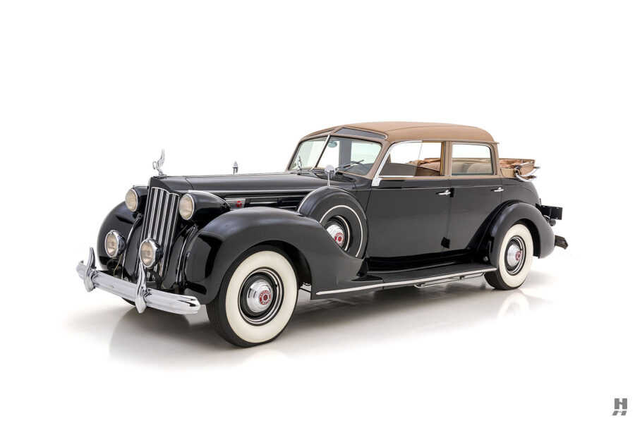 angled frontside view of rare 1939 packard twelve brunn automobile for sale at hyman classic cars