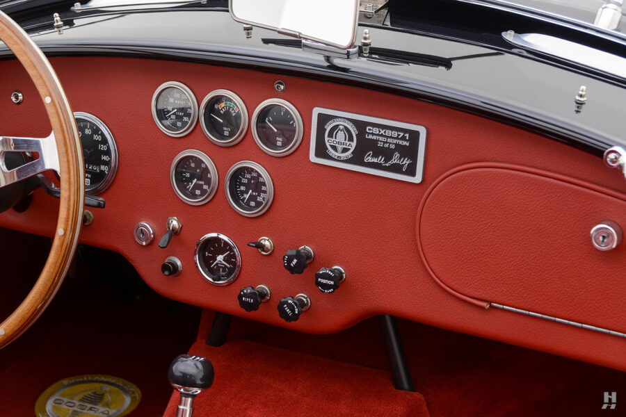 dashboard of vintage 1962 shelby cobra convertible at hyman