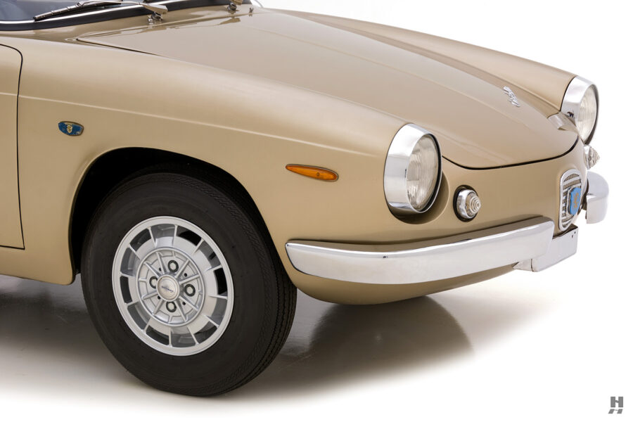 angled front view of vintage abarth coupe for sale at hyman