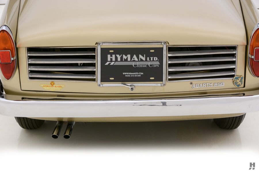 back of vintage abarth coupe car at hyman dealers