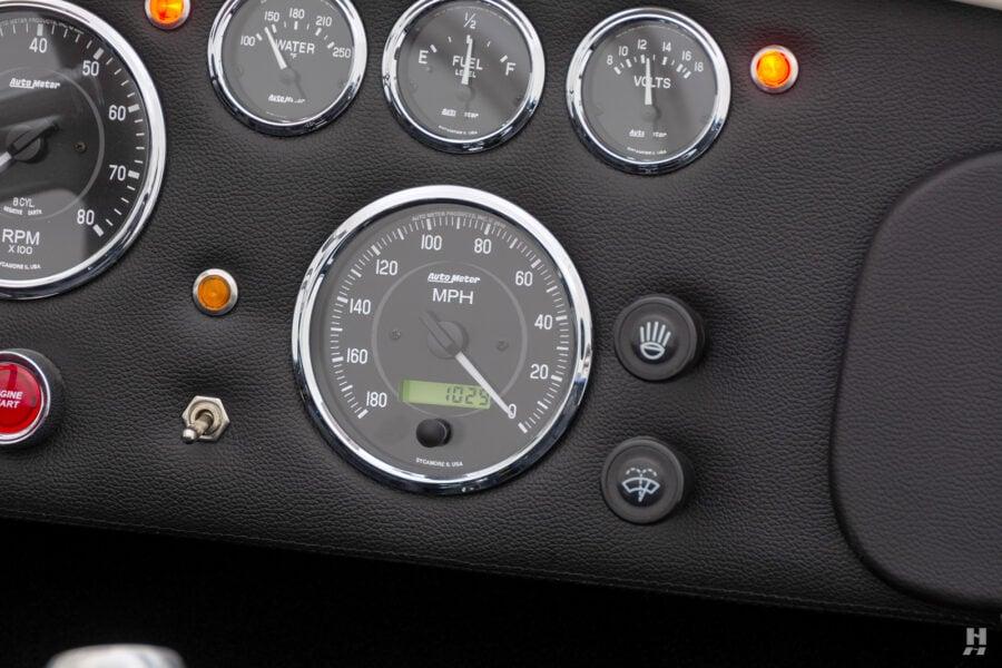 speedometer on vintage 1965 backdraft cobra at hyman classic car dealership