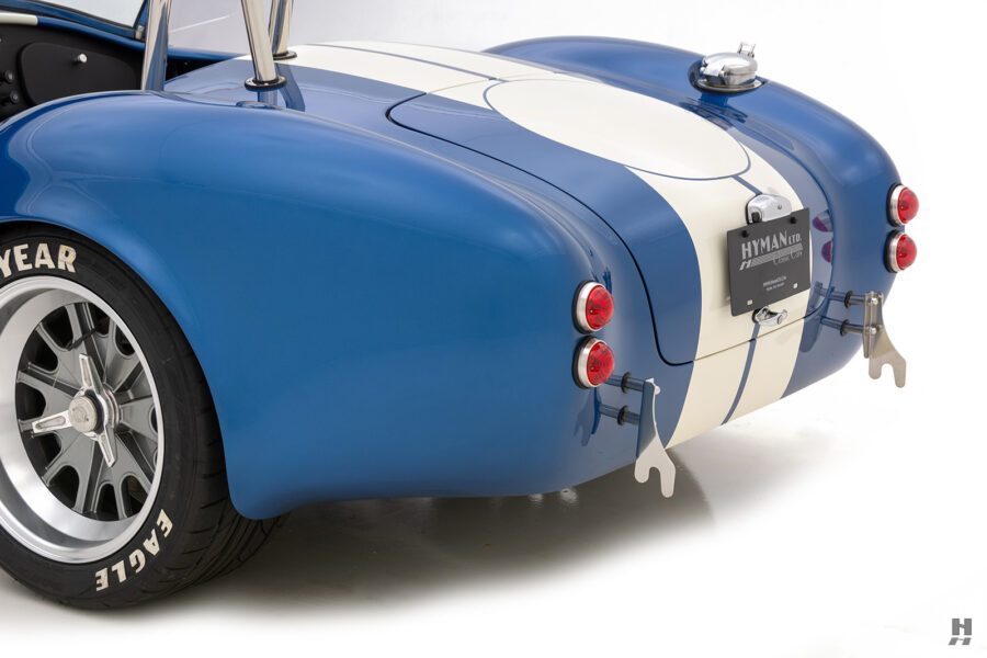 angled back view of vintage 1965 backdraft cobra from hyman classic cars