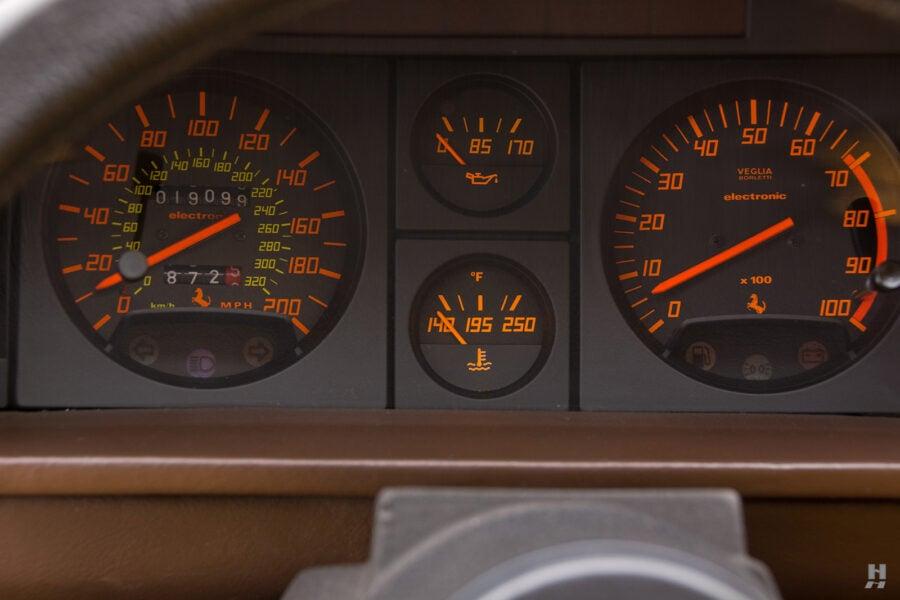 speedometer on old 1990 ferrari testarossa for sale at hyman dealers