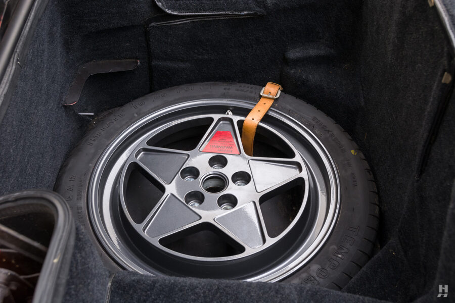 spare tire on classic 1990 ferrari car for sale at hyman consignment dealers