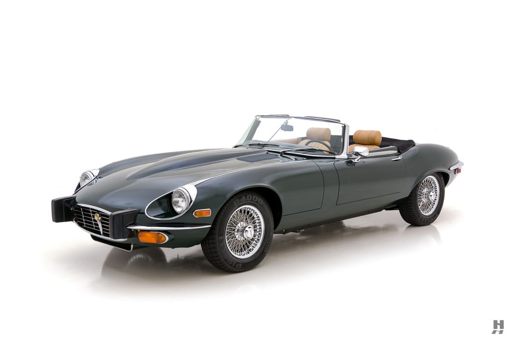 angled side view of vintage jaguar roadster for sale at hyman classic cars