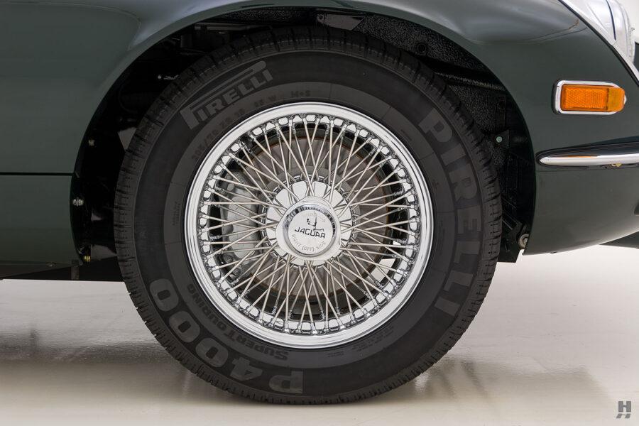 back tire of vintage jaguar roadster for sale at hyman classic cars