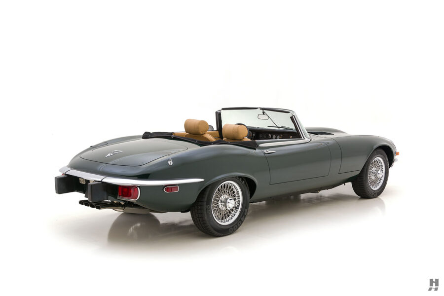 angled back view of vintage jaguar roadster for sale at hyman classic cars