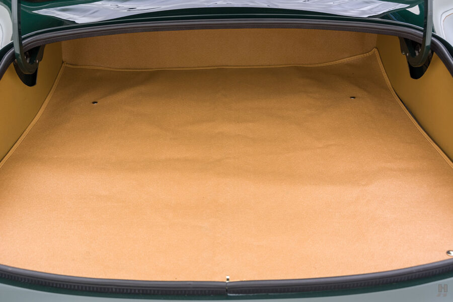 trunk space of vintage jaguar roadster for sale at hyman classic cars