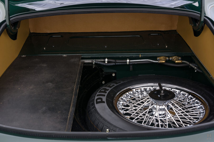 spare tire of vintage jaguar roadster for sale at hyman classic cars