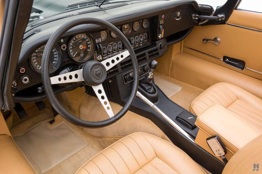 interior of vintage jaguar roadster for sale at hyman classic cars