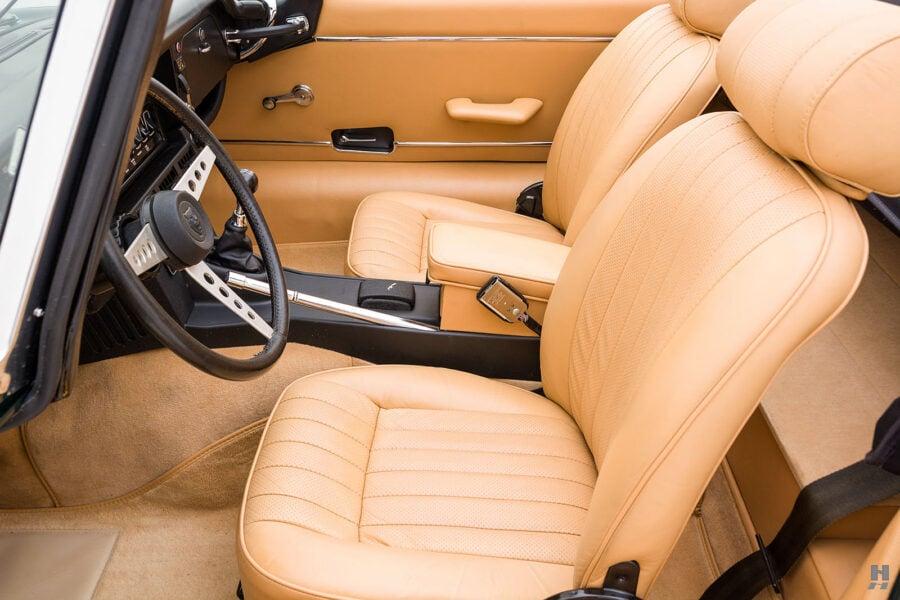 seats of vintage jaguar roadster for sale at hyman classic cars