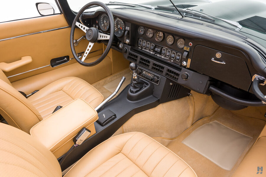 front interior of vintage jaguar roadster for sale at hyman classic cars