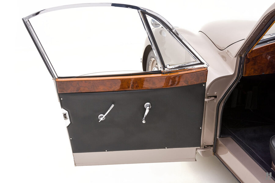 driver's side door of antique jaguar coupe for sale at hyman classic dealers