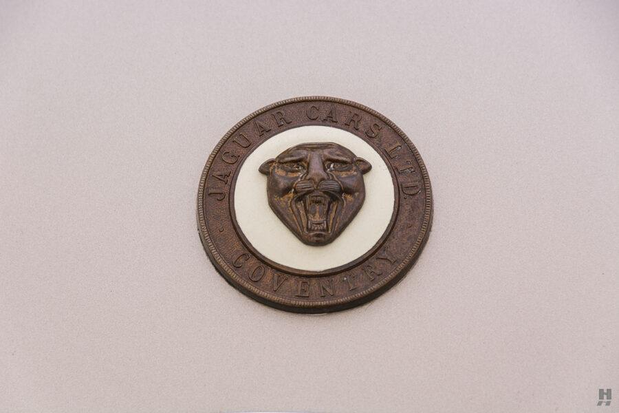 logo on antique jaguar coupe for sale at hyman classic dealers