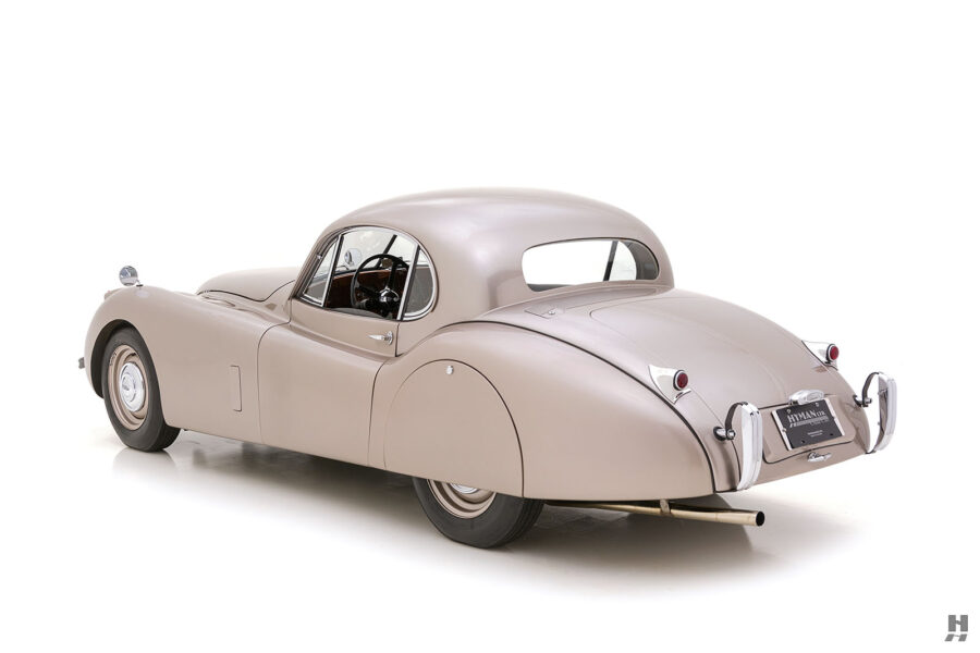 angled backside view of antique jaguar coupe for sale at hyman classic dealers