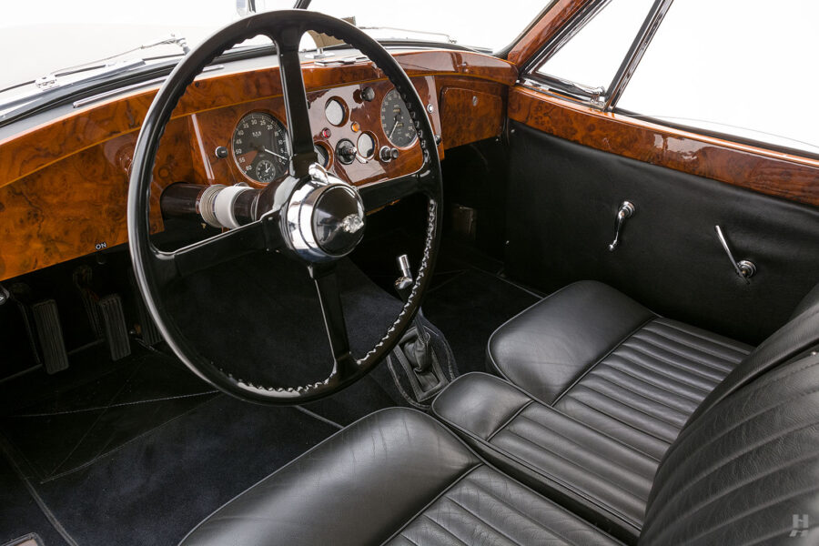 front interior of antique jaguar coupe for sale at hyman classic dealers