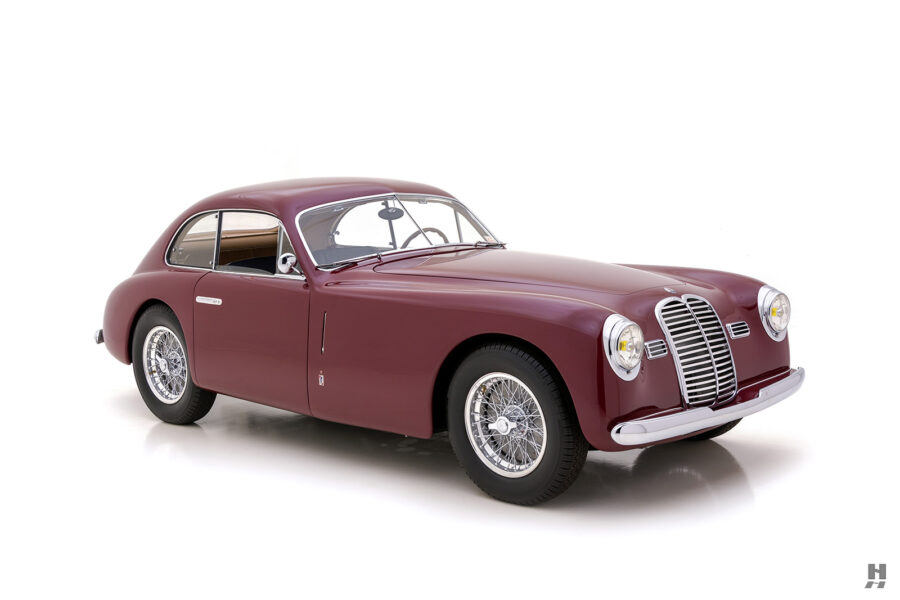 angled frontside of vintage 1949 maserati coupe for sale at hyman classic cars