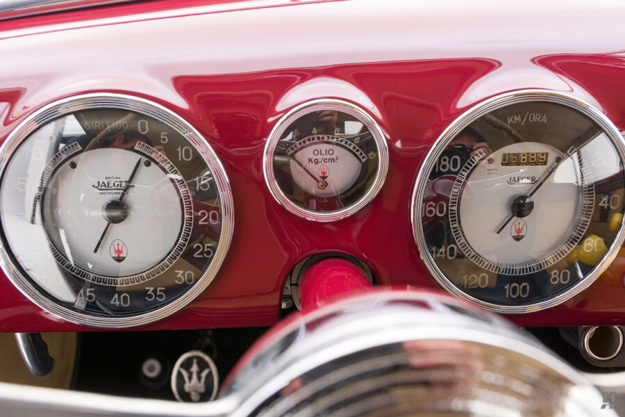 speedometers of vintage 1949 maserati coupe for sale at hyman cars