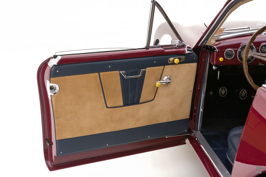 driver's side door of vintage 1949 maserati coupe for sale at hyman cars
