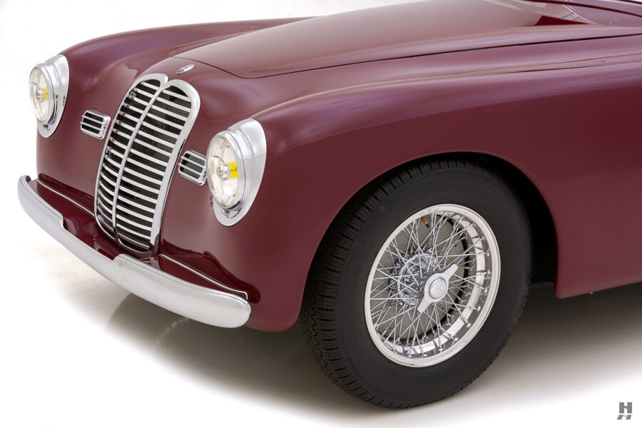 angled front side of vintage 1949 maserati coupe for sale at hyman cars