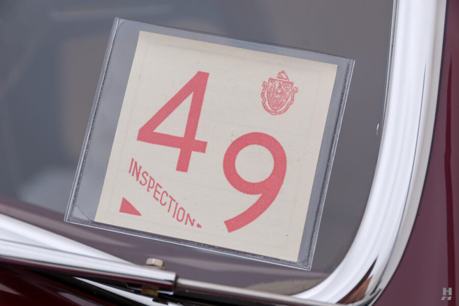 inspection logo of vintage 1949 maserati coupe for sale at hyman classic cars