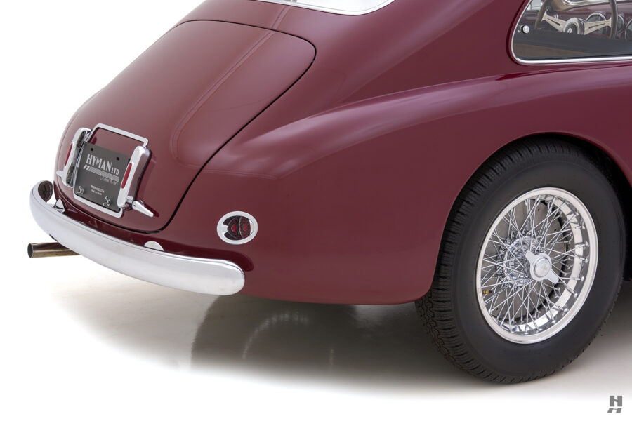 angled backside of vintage 1949 maserati coupe for sale at hyman classic cars