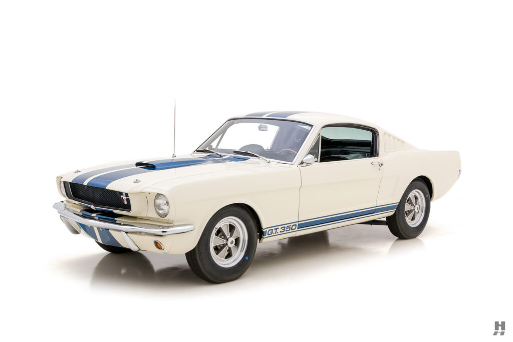 angled front view of a vintage 1965 shelby gt350 for sale at hyman automobile dealership