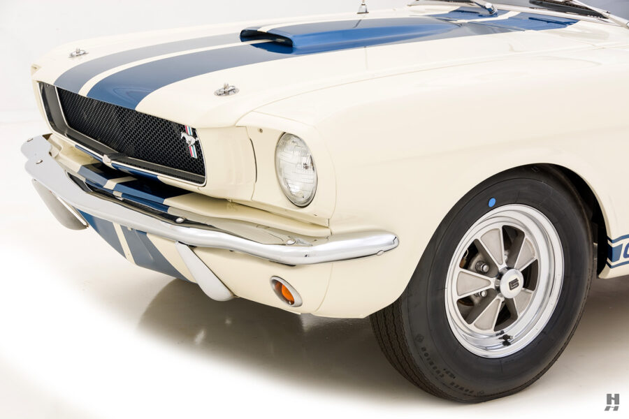 angled frontside view of vintage 1965 shelby gt350 for sale at hyman dealers in the midwest