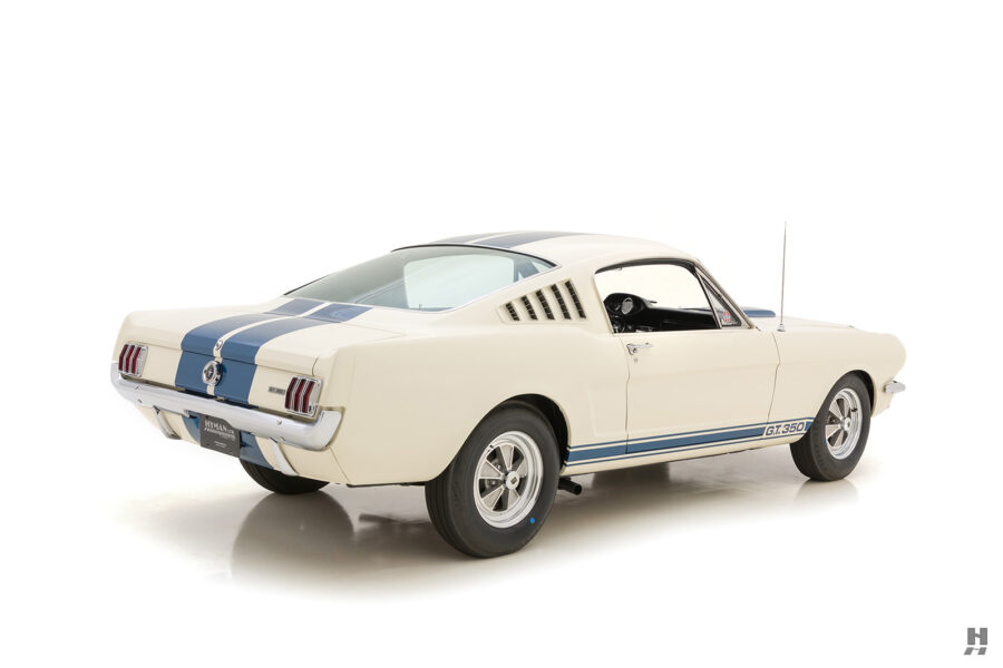 angled back view of old 1965 shelby gt350 for sale online at hyman