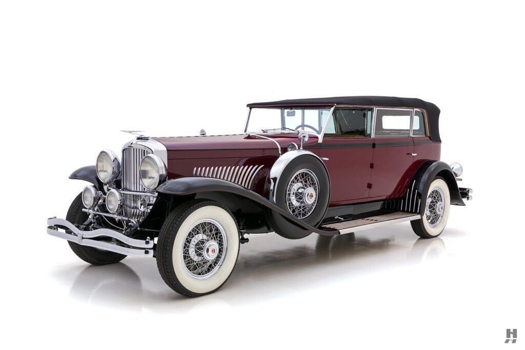 angled frontside of antique 1930 duesenberg for sale at hyman classic cars