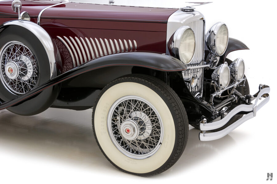 angled front of antique 1930 duesenberg for sale at hyman classic cars