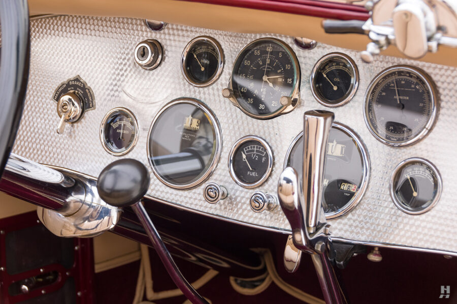 dashboard in antique 1930 duesenberg for sale at hyman classic cars